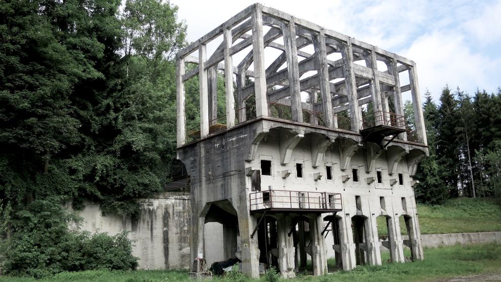 Bild des Kohlebrechers heute, Betonmauerwerk