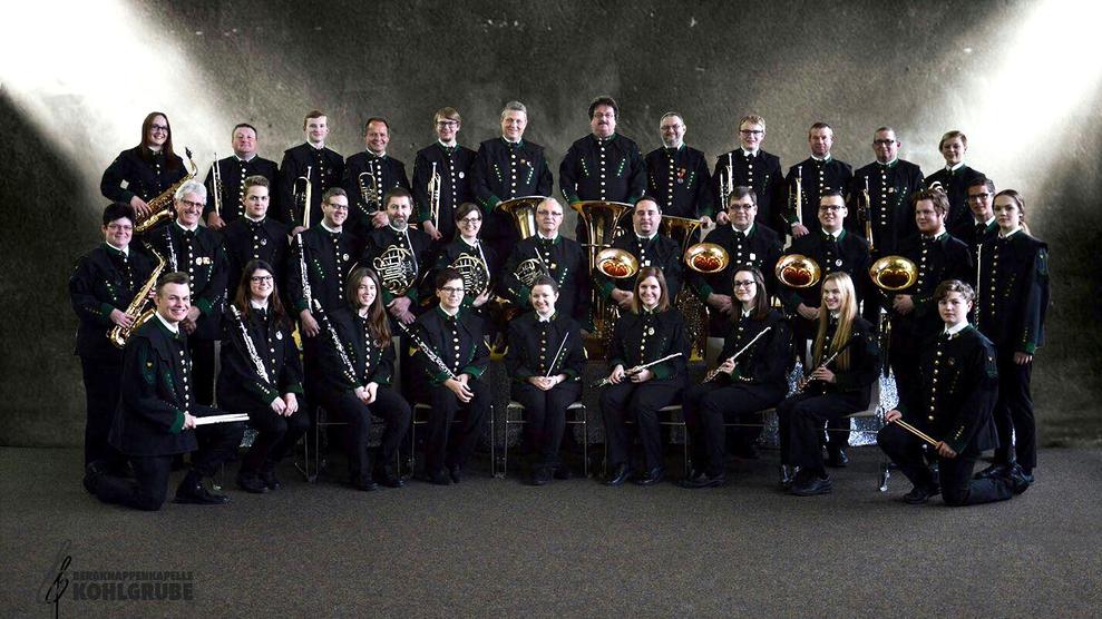 Gruppenfoto der Bergknappenkapelle Kohlgrube 2017