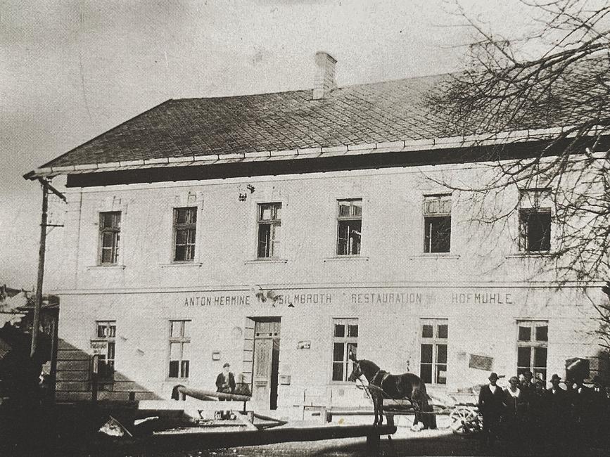 Bild des Gasthauses Hofmühle, Aufn. ca. 1925. Zentrum des geselligen Lebens der Scharnsteiner Sensenschmiede.