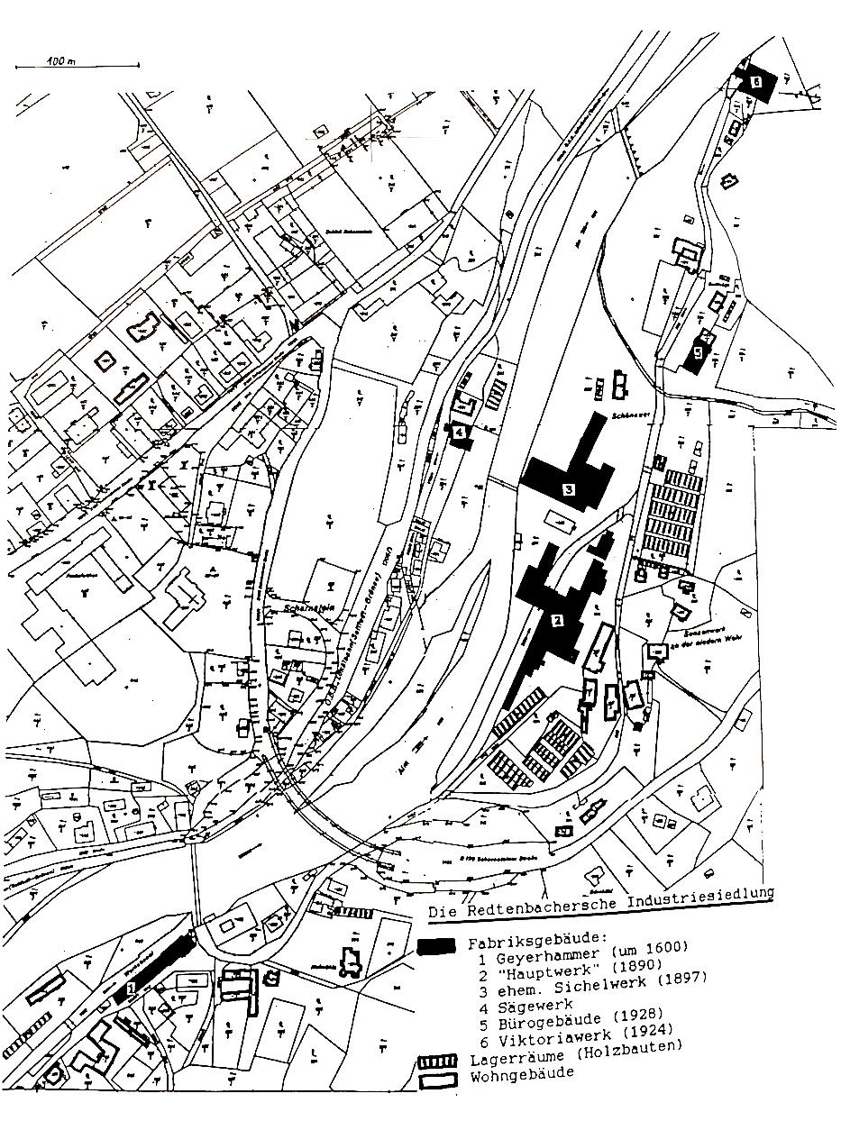 Situationsplan mit Geyerhammer, Hauptwerk, Viktoriahütte