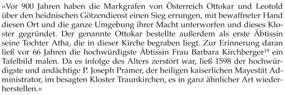 """Übersetzung der Inschrift von K. Amon, 1986 aus F. Mittendorfer """"Traunkirchen"""", 1981"""