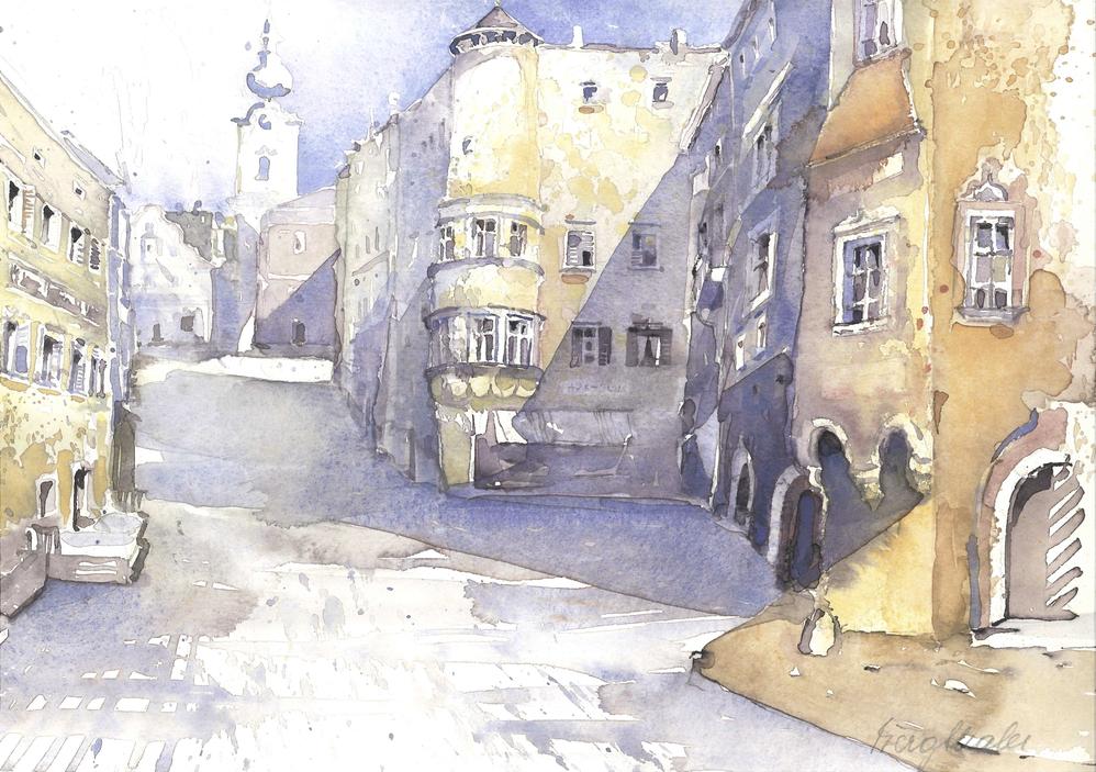 Aquarell der Kirchengasse Gmunden