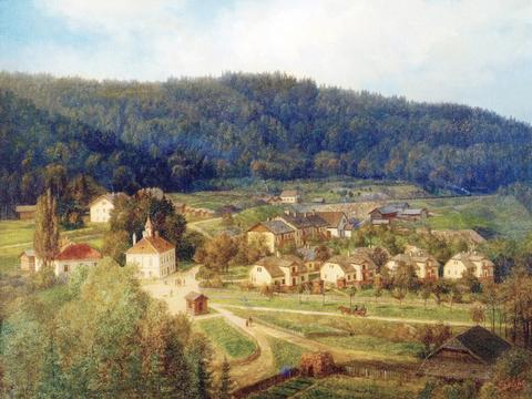 Gemälde der Bergbausiedlung aus 1870