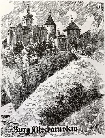 Zeichnung der Burg Scharnstein mit Zugbrücke