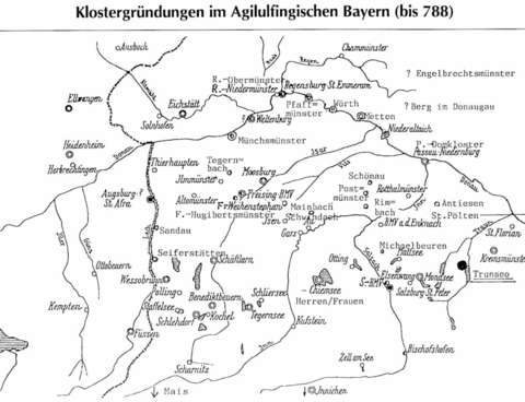 Map of the foundations of the monasteries by the Agilolfinger until AD 788, from local chronicle Altmünster 1992, contribution H. Marchetti, p.82