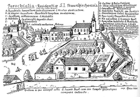 Monastery complex, drawing from F. Mittendorfer