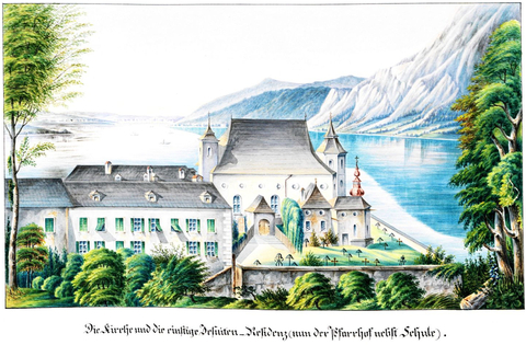 The church and the former Jesuit residence, now the rectory and school by Carl Ritter, from the Gmunden city archive, manuscript 129, OÖLA